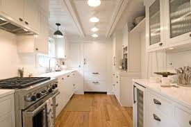 lighting for galley kitchen. White Plank Ceiling Lighting For Galley Kitchen N