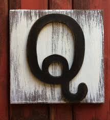 Letter Q Wood Wall Decor Rustic Farmhouse Country