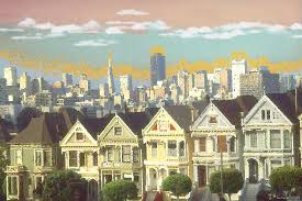 san francisco painting san francisco alamo square watercolor ilration by peter potter