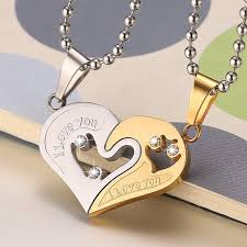 2 pcs couple necklaces heart