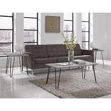 ameriwood home owen retro coffee table distressed gray oak metal gray com