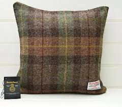 Brown Green Throw Pillow Plaid Tartan Cushion Cover Genuine Scottish Harris  Tweed 16ins by GreenCallow on