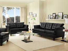 Living Room Loveseats Iris Modern Black Faux Leather Sofa Couch Loveseat Set Living