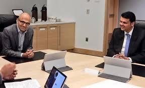 microsoft office in seattle. Microsoft CEO Satya Nadella With Maharashtra Chief Minister Devendra At Office In Seattle. ( Seattle O