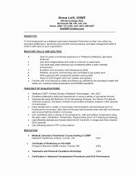 Medical Technologist Resume Sample Medical Lab Technician Resume format Unique Sample Resume for 48