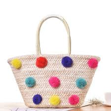 summer beach bags. Beautiful Bags Colorful Wool Ball Pom Design Summer Beach Bags Basket Chic Woven Straw  Handbags For Women Large Shoulder Shopper Totes C35 Ladies Purse Designer  And M