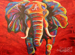 elephant painting crimson tide elephant by cyndi eastburn on alabama elephant wall art with crimson tide elephant painting by cyndi eastburn