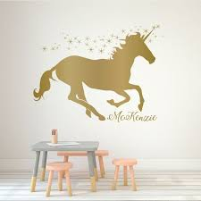 unicorn wall decor vinyl decal personalized for girl s bedroom playroom or bathroom kids home