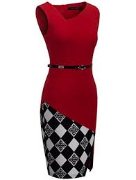 Homeyee Womens Elegant Patchwork Sheath Sleeveless Business