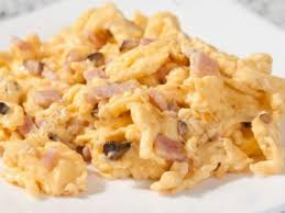ham egg beaterushroom scramble