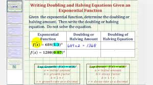 ex practice writing exponential equations doubling equation and halving equation you