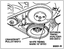 solved 1994 ford f150 302 5 0l v8 how do i check timing fixya check the base ignition timing the yellow ignition timing mark should line up the pointer on the timing belt cover