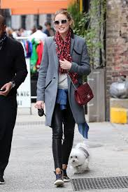olivia palermo fashion style look for less featuring a gray coat leather pants maroon