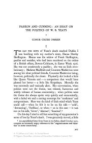 essay on politics passion and cunning an essay on the politics of w b yeats inside