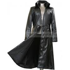 mens long black leather trench coat