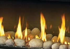 gas fireplace rocks glass porcelain reflective radiant panels clear glass beads grey finish river rock media