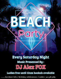 Create Event Flyer Beach Party Event Flyer Poster Design Template Pajama Party Poster