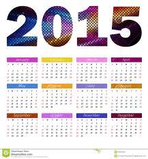 Annual Calendar 2015 Simple European 2015 Year Color Vector Calendar Stock Vector