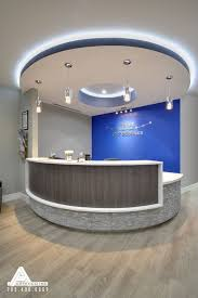 Orthodontic Office Design Extraordinary Blue And Stone Modern Reception Desk Dental Office Design By