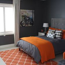 Stylish Orange And Dark Gray Bedding To Cover Gray Painted Kids Rooms Idea  With Calm White Detail Over Curtains Image | Bedroom Eyes | Pinterest |  Dark grey ...