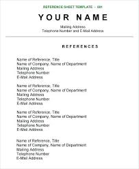 Reference Page Resume Format Nfcnbarroom Com