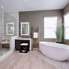 Wood tile flooring bathroom Wood Style Inspiration For Contemporary Master Pebble Tile Floor And Beige Floor Freestanding Bathtub Remodel In Orange Houzz 75 Most Popular Contemporary Bathroom Design Ideas For 2019