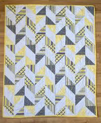 Herringbone Half Square Triangle Baby Quilt | Yellow, gray, and ... & Herringbone Half Square Triangle Baby Quilt | Yellow, gray, and white baby  quilt. Adamdwight.com
