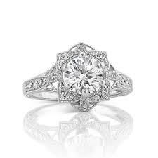 vintage diamond floral halo engagement ring with pav eacute