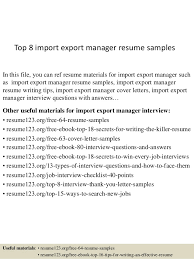 Import Export Resume Sample