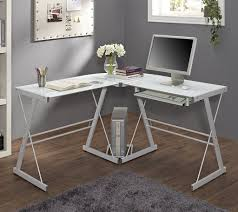 minimalist cool home office. Sleek White Minimalist Corner Desk For Cool Home Office Design With Excellent Shaggy Rug