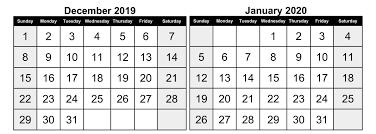 Calendar December 2019 January 2020 Template 2019