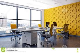 Yellow Office Modern Office Interior With Feature Yellow Wall Stock Photo
