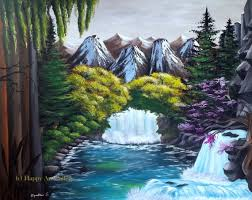 crystal falls waterfall painting
