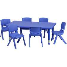 school table and chairs. FF 24 X 48 Resin Table W/ 6 Chairs 13.5\ School And D