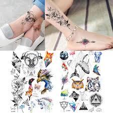 геометрические розы олень тигр лиса татуировки с китом женщины