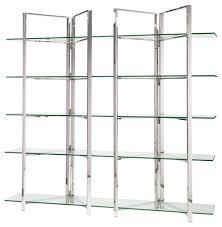 nuevo elton 5 shelf glass bookcase silver contemporary bookcases by ebpeters
