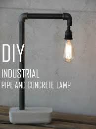 diy industrial lighting. homemade makeovers diy pipe u0026 concrete industrial lamp diy lighting