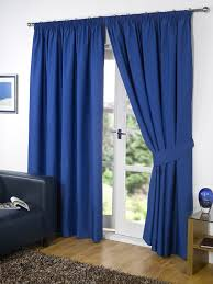 pair of blue 46 width x 54 drop supersoft thermal blackout curtains bedroom curtain readymade including pair of matching tie backs winter warm but