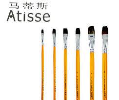 6pcs best ing oil paint brush artist weasel hair brushes pen gouache paint brush wooden yellow