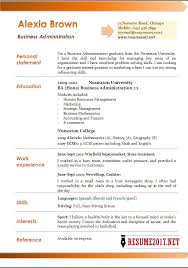 Business Administration resume example 2017