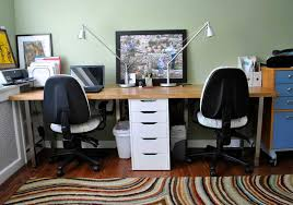 two person office desk. Two Person Office Desk With Drawers In The Center A Blue-door Storage System Files E