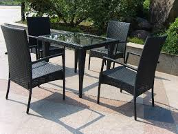 black outdoor wicker chairs. Black Rattan Outdoor Furniture Sets With Synthetic Wicker Chairs And Square Dining Table Using Glass Top E