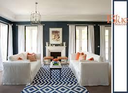 decorating ideas blue white living room traditional chic chevron carpet rug navy blue rug living room