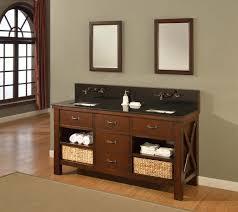 picture of 70 espresso xtraordinary spa premium double vanity sink cabinet with black granite