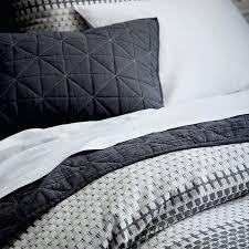 white and black duvet cover set organic block stripe jacquard duvet cover shams black white west