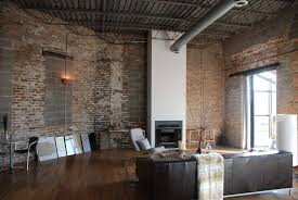 Spectacular Open Floor Plan Interior House Design With Exposed Brick Wall  Also Built In Fireplace And Wooden Floor Installation Ideas