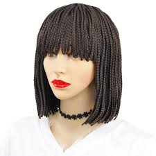 12 Synthetic Braided Wig Short Bob Wigs With Bangs Brown Synthetic Hair Wig Box Braided Wigs For