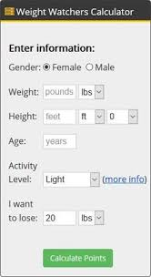 Weight Watchers Weight Chart By Age Pin On Weight Watchers