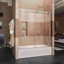 luxury bathroom glass door bathtub the home depot enigma x 56 in to 59 62 frameless