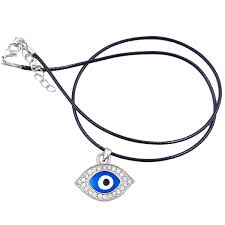 evil eye necklace pendant with cubic zirconia inserts